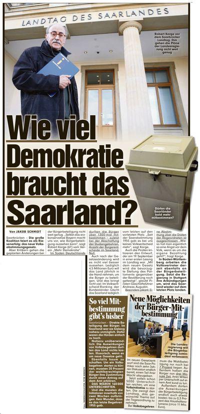 Mehr Demokratie Saarland in der BILD
